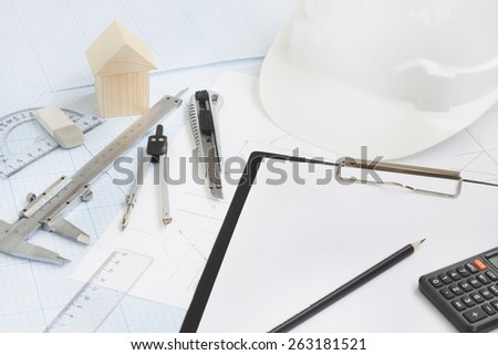 rawing tools project concept home building - stock photo