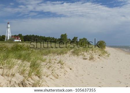 Rawley Point Lighthouse & Beach - stock photo