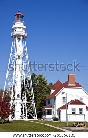Rawley Point Lighthouse by Lake Michigan in Wisconsin - stock photo