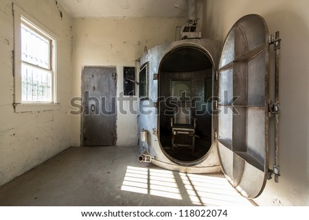 RAWLINS, WYOMING - JULY 18: The gas chamber at the Wyoming Frontier Prison on July 18, 2012 in Rawlins, Wyoming
