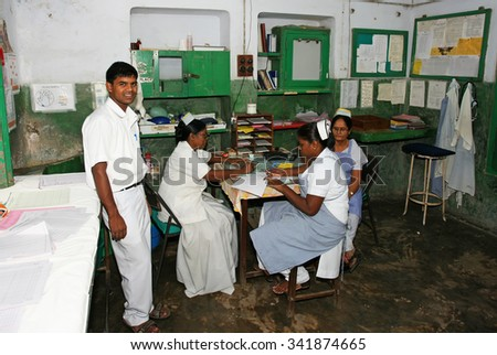 RAXAUL, INDIA - NOV 5: Unidentified Indian nurses in a local hospital on Nov 5, 2011 in Raxaul, Bihar state, India. Bihar is one of the poorest states in India. The per capita income is 300 dollars. - stock photo