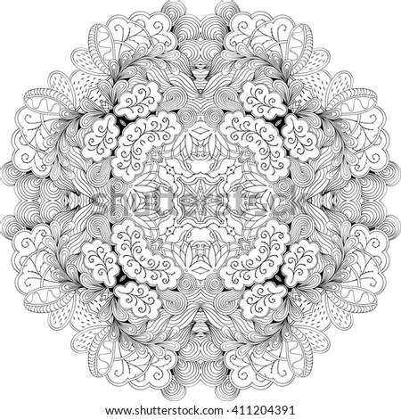 Ray edge mandala tracery wheel mehndi design. Tracery calming ornament. Neat even binary monochrome harmonious doodle texture. Indifferent discreet.  Bracing usable doodling mehndi pattern.  - stock photo