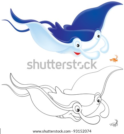 Ray Manta and krill, color illustration and black-and-white outline, on a white background - stock photo