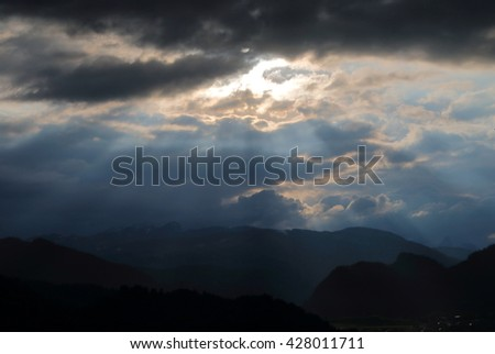 Ray of life in the mountains of Slovenia, in the area of Lake Bled - stock photo