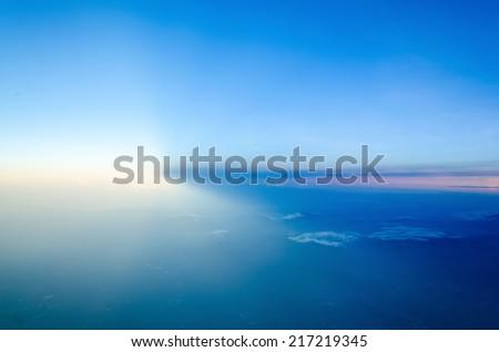 Ray of sunlight sharp to the sky - stock photo
