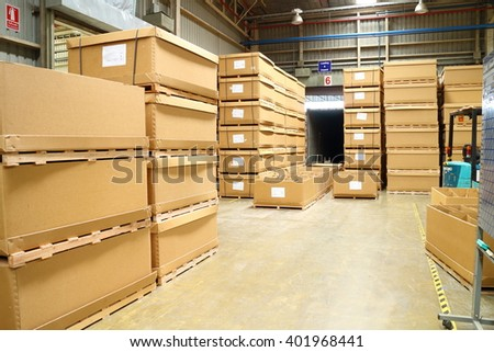 Rayong factory - Thailand , Apr 06 - 2016 : Material box and wood pallet in factory warehouse