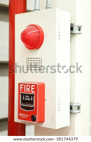 Rayong factory - Thailand , FEB 25 - 2016 : Fire extinguishers and fire alarm are used in industry. Is very important And must be checked usually