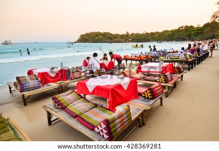 Rayong, Koh Samet,  Thailand - March 17, 2014 : The Wong Duan bay beach, Koh Samet Nation Park island on March 17, 2014 in Rayong, Thailand - stock photo