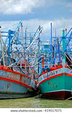 RAYONG-THAILAND-AUGUST 23 : Fishing boats in harbor on August 23 ,2015 Rayong Province, Thailand.