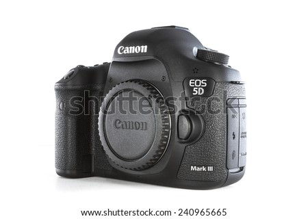 RAYONG , THAILAND - DECEMBER 31 , 2014: DSLR Digital Camera of A EOS Canon 5D Mark III on white background  - stock photo