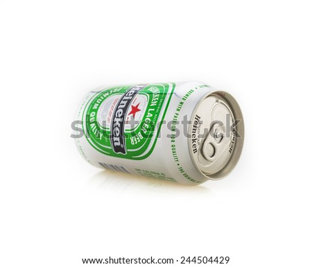 RAYONG,THAILAND - JANUARY 15, 2015: Can of Heineken beer on white background , Rayong Thailand
