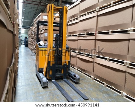 Rayong Thailand , July 12 - 2016 : Lift truck in factory warehouse use for lifting material supply production process in Thailand factory.