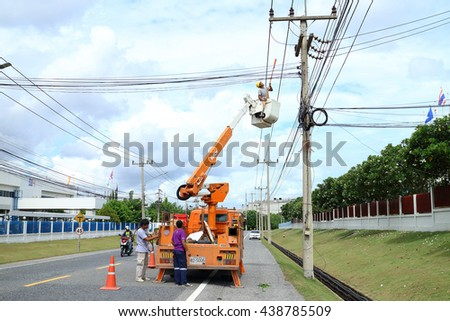 Rayong - Thailand , June 16 - 2016 : Electrical truck service and maintenence for hight voltage line  in Thailand electrical system. - stock photo