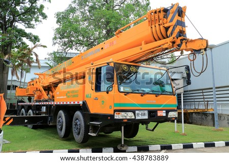 Rayong - Thailand , June 17 - 2016 : Mobile crane truck use for lifting and transportation in construction site Thailand. - stock photo