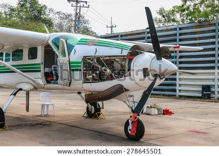 RAYONG , THAILAND- MAR 28 2015: Cessna 208 Caravan no.1918 of KASET , Bureau of Royal Rainmaking and Agricultural Aviation. U-TAPAO Airport, Rayong - stock photo