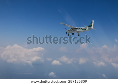 RAYONG , THAILAND- MAR 28 2015: Cessna 208 Caravan no.1918 of KASET , Bureau of Royal Rainmaking and Agricultural Aviation.Take off and landing at U-TAPAO Airport, Rayong