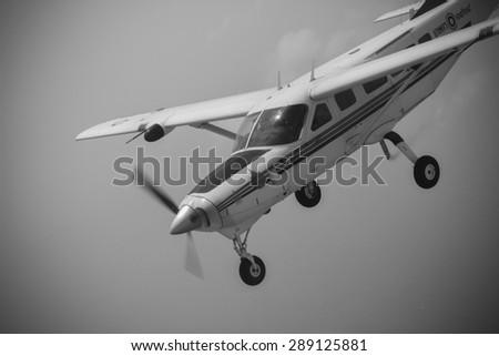 RAYONG , THAILAND- MAR 28 2015: Cessna 208 Caravan no.1918 of KASET , Bureau of Royal Rainmaking and Agricultural Aviation.Take off and landing at U-TAPAO Airport, Rayong - stock photo