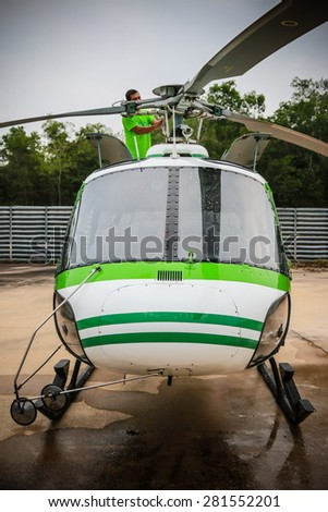 RAYONG , THAILAND- MAR 26 2015: Front of Helicopter AS350 no.18301 of KASET , Bureau of Royal Rainmaking and Agricultural Aviation. U-TAPAO Airport, Rayong - stock photo