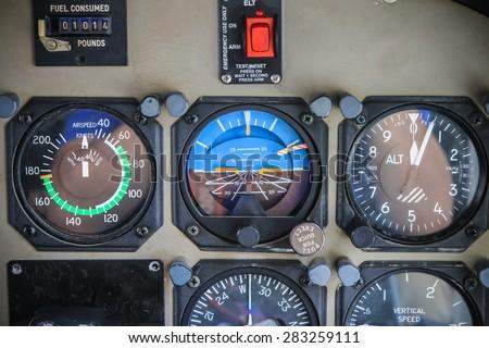 RAYONG , THAILAND- MAR 28, 2015: Inside Cessna 208 Caravan of KASET , Bureau of Royal Rainmaking and Agricultural Aviation. U-TAPAO Airport, Rayong - stock photo
