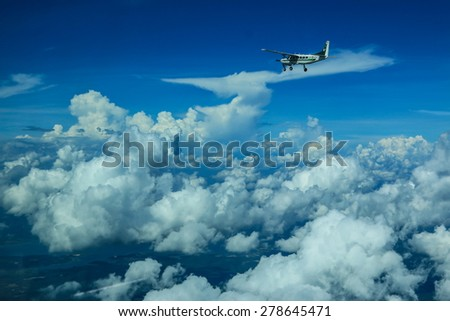 RAYONG , THAILAND- MAY 16 2015: Cessna 208 Caravan no.1918 of KASET , Bureau of Royal Rainmaking and Agricultural Aviation. Take off and landing at U-TAPAO Airport, Rayong - stock photo