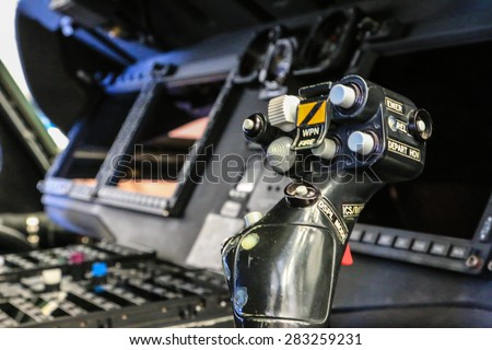 RAYONG , THAILAND- MAY 16, 2015: Inside Sikorsky UH-60 Black Hawk helicopter of royal thai navy standby in the hangar for maintenance. U-TAPAO Airport, Rayong - stock photo