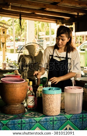 Rayong, Thailand - May 31, 2015 : Thai exotic food in street food market with papaya salad (papaya pok pok). Like the charming people, exotic foods greets you on almost every corner in Thailand.