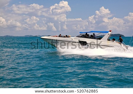RAYONG, THAILAND-November 11,2015:Convenient and fast from Ban Phe Beach - Sa med island, Use a speedboat, Rayong province, Thailand
