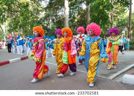 RAYONG, THAILAND - NOVEMBER 20, 2014 : Unidentified children  parade in annual sports day on November 20, 2014 at Rayong Province,Thailand