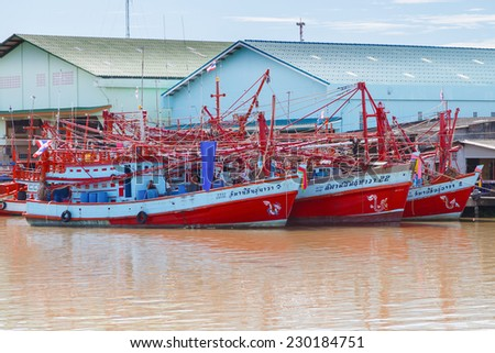 RAYONG, THAILAND- 5 NOVEMBER 2014: Unidentified fishing boats in Rayong River, November 5, 2014 in Rayong, Thailand.