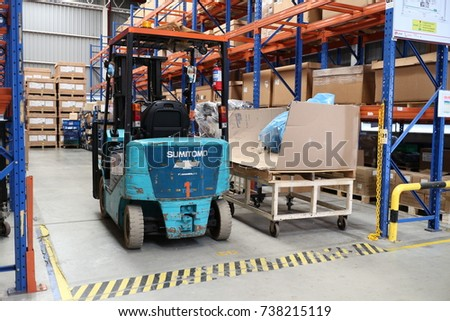 Rayong Thailand , October 02 - 2017 : Lift truck in factory warehouse.