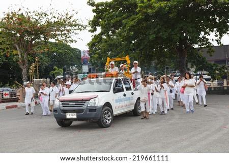 RAYONG, THAILAND - SEPTEMBER 23: Rayong vegetarian festival on September 23, 2014 in Rayong province, Thailand. - stock photo