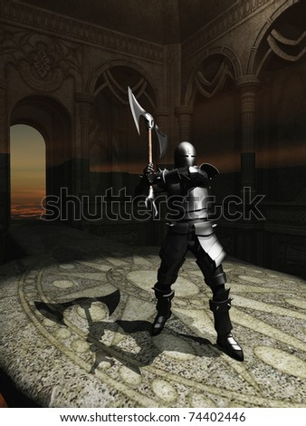 Rays from setting sun enter the high tower where armoured knight stands ready for combat - stock photo