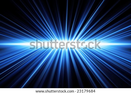 Rays' light, blue on black, abstract - stock photo