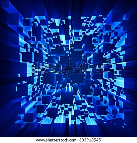 rays of light shines through the moving cubes as abstract futuristic dark background - stock photo
