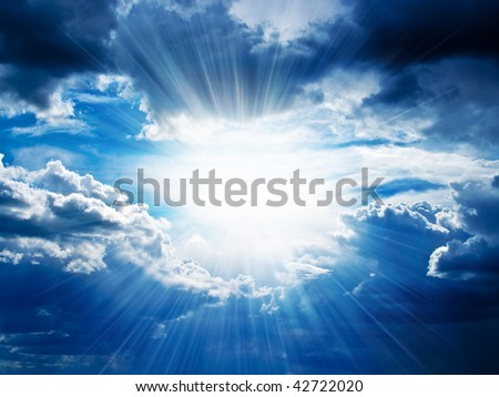 Rays of sunshine breaks through the dark clouds. Concept of hope for the best, mood changes, enthusiasm, optimism, faith in our own strength, the breakthrough goal - stock photo