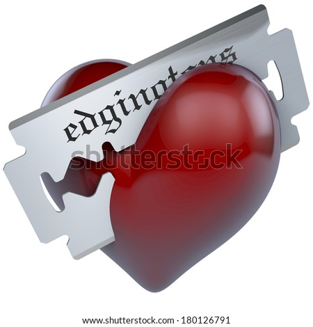 Razor blade cutting in a shiny red heart, 3d rendering on white background - stock photo