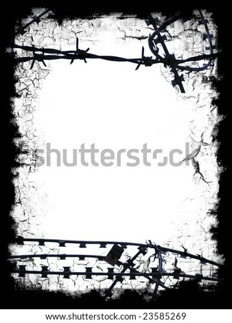 Razor wire black frame border with white blank middle for your own design - stock photo