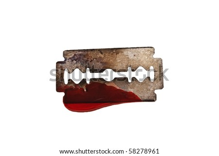 razor with drop of blood isolated on white background - stock photo