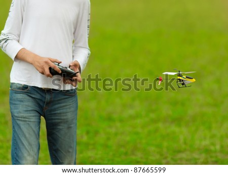 RC model hobby flying helicopter model (focus on RC model) - stock photo