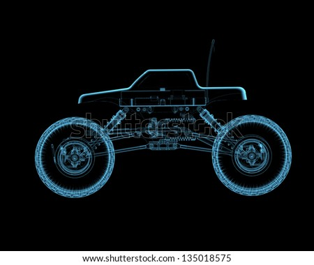 RC toy car (3D xray blue transparent isolated on black background)
