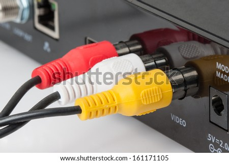RCA Cable Plugged in to The Connection Panel - stock photo