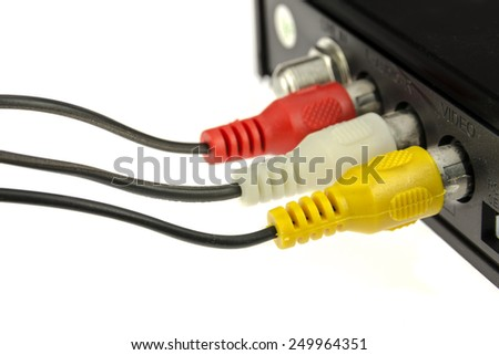 Rca cable to the satellite receiver. - stock photo