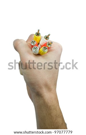 RCA cables in your hand - stock photo