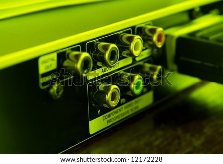 RCA output connectors of a dvd player - stock photo