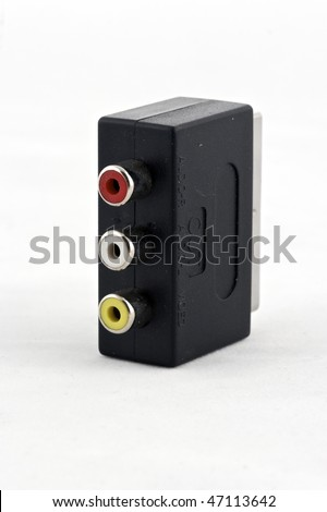 RCA to SCART adapter isolated - stock photo