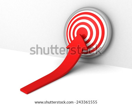 rea growing arrow pointihg to target bull-eye center. success concept 3d rebder illustration - stock photo
