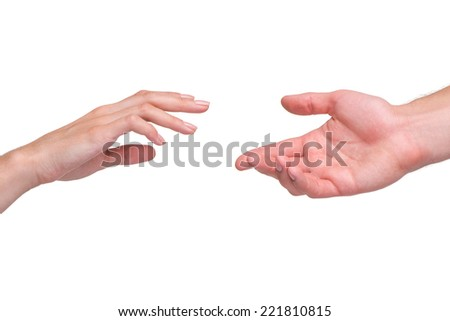 Reaching female and male hands isolated on white background. Concept for rescue, friendship, guidance - stock photo