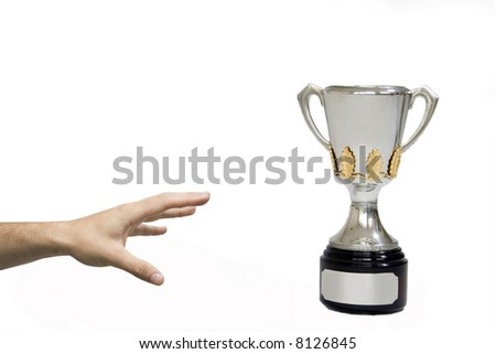 reaching for the cup (fully isolated on white) - stock photo