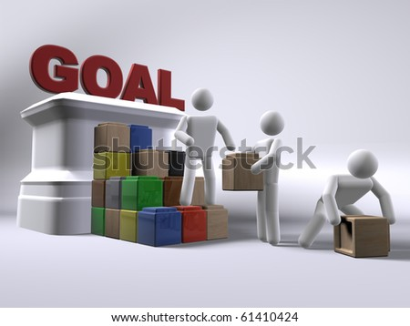 Reaching for the goal - stock photo