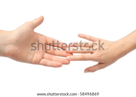 Reaching hands - stock photo